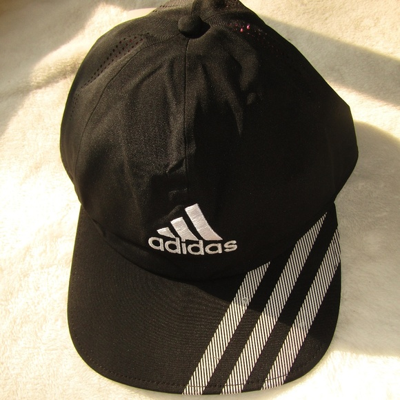 26ed007afd3 NWT Adidas hat black white adjustable 3 stripe